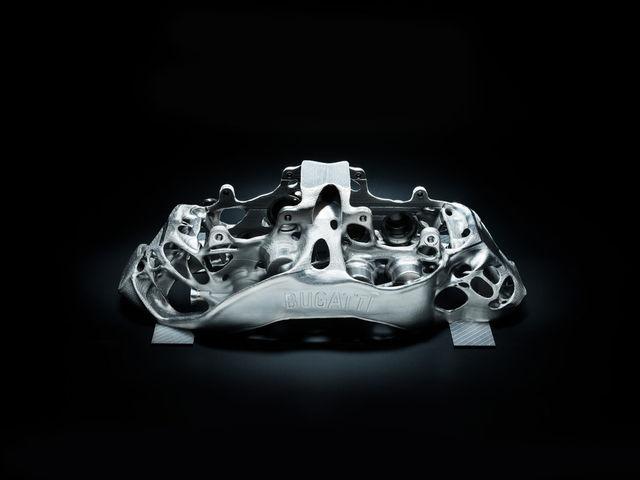 Titaanist prinditud detail. Foto: Bugatti